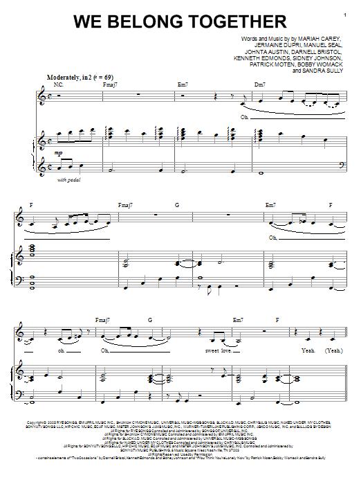 We Belong Together sheet music by Mariah Carey (Piano u0026 Vocal u2013 99376)