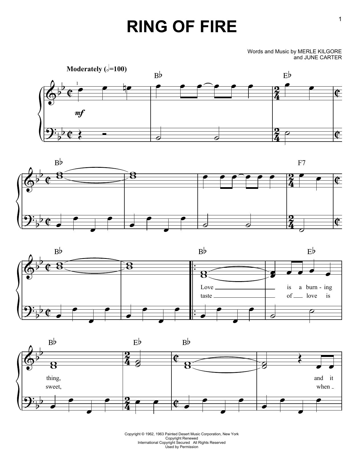 Partition piano Ring Of Fire de Johnny Cash - Piano Facile