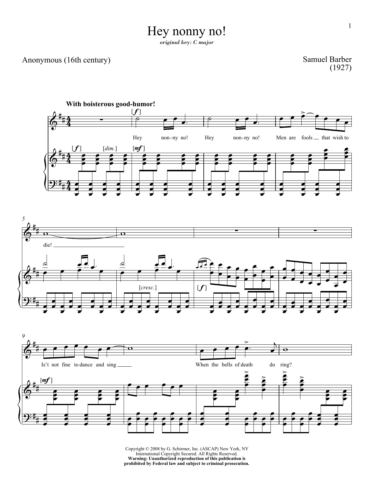 Partition piano Hey Nonny-No! de Samuel Barber - Piano Voix