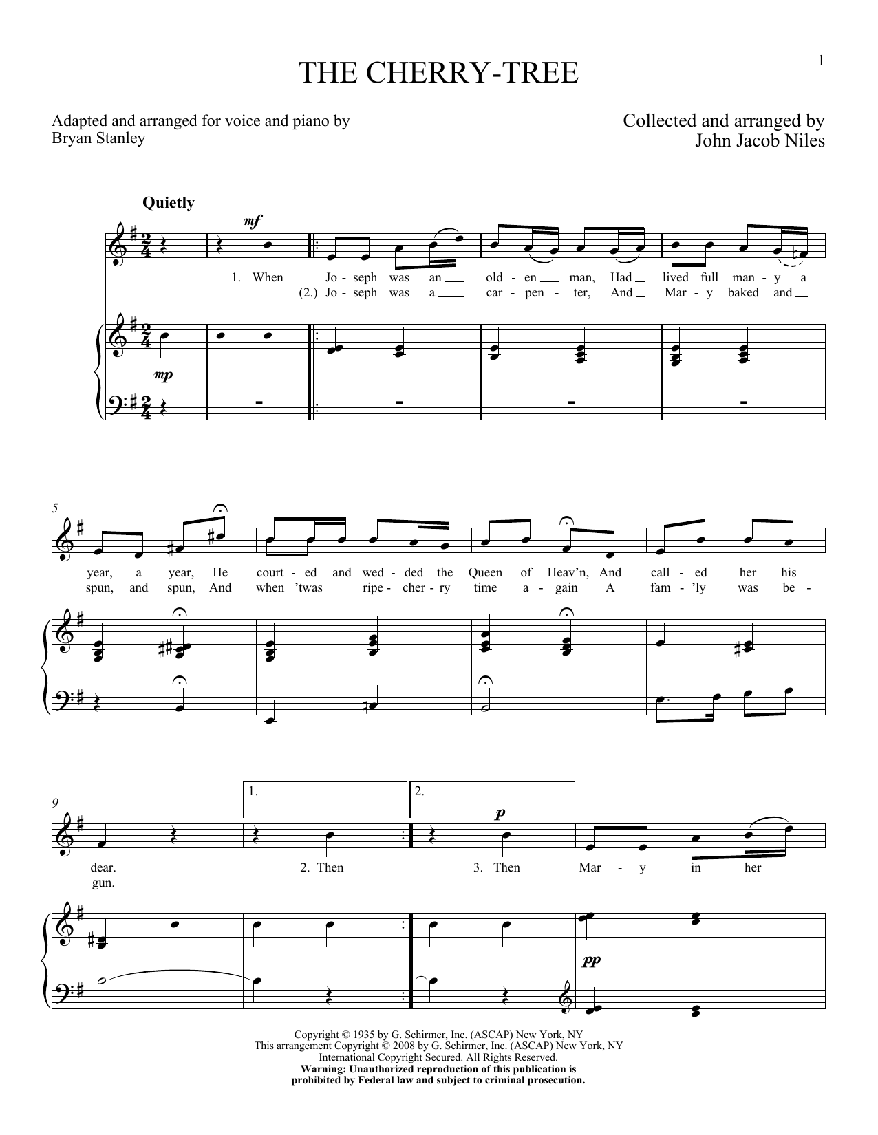 Partition piano The Cherry-Tree de John Jacob Niles - Piano Voix