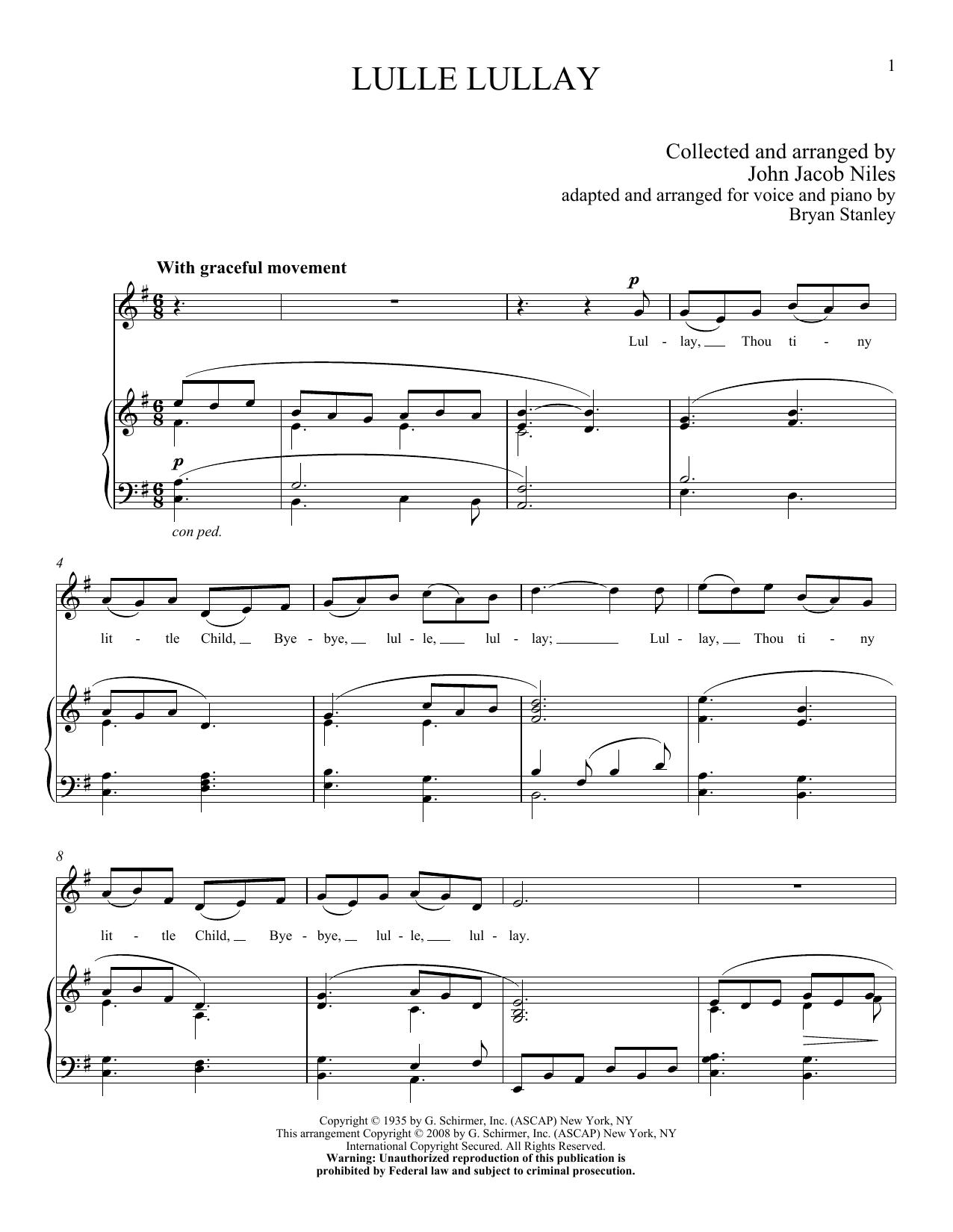 Partition piano Lulle Lullay de John Jacob Niles - Piano Voix