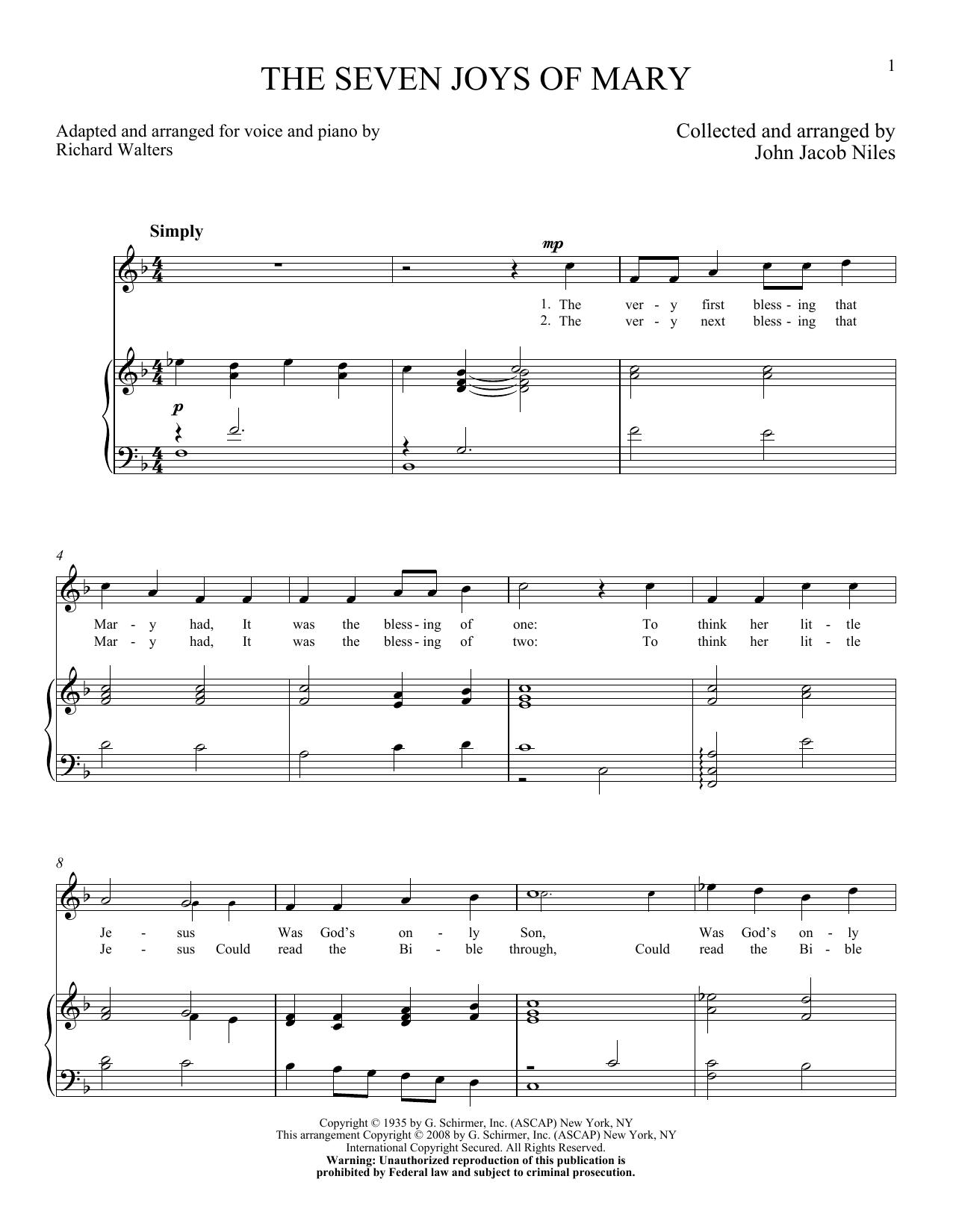 Partition piano The Seven Joys Of Mary de John Jacob Niles - Piano Voix