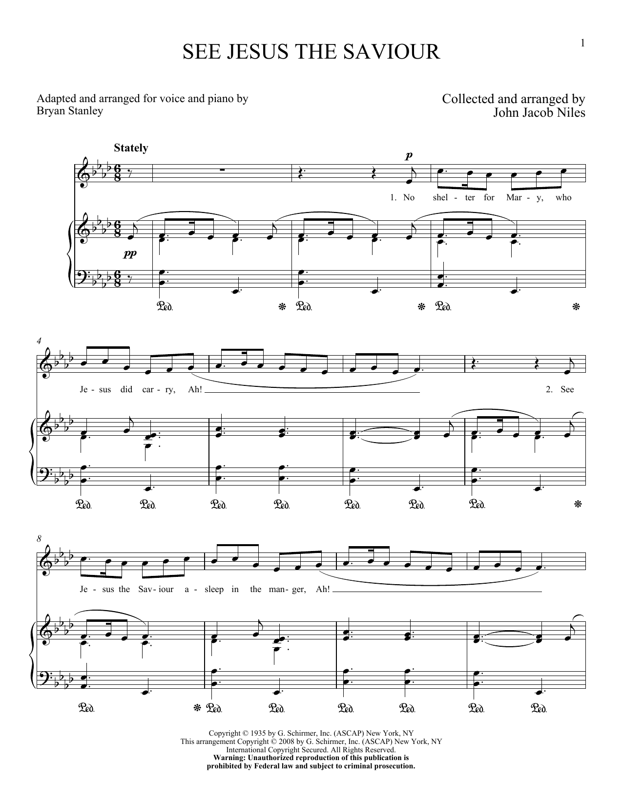 Partition piano See Jesus, The Saviour de John Jacob Niles - Piano Voix