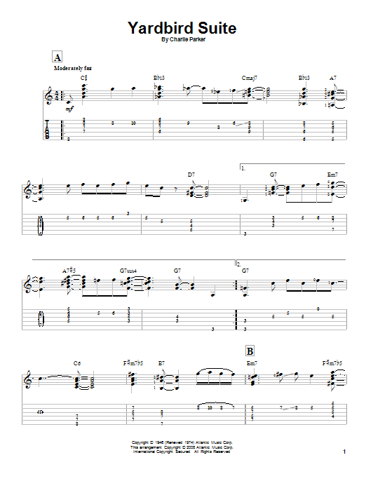 Tablature guitare Yardbird Suite de Charlie Parker - Tablature Guitare