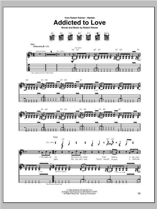 Tablature guitare Addicted To Love de Robert Palmer - Tablature Guitare