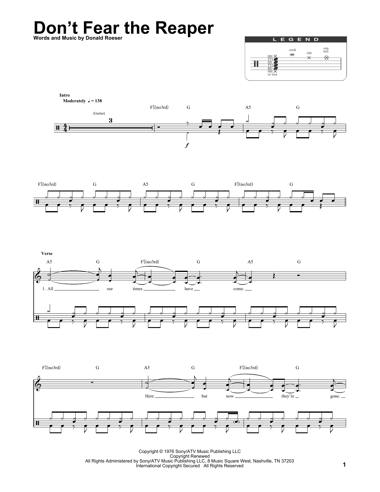 Sheet Music Digital Files To Print Licensed Blue Oyster Cult