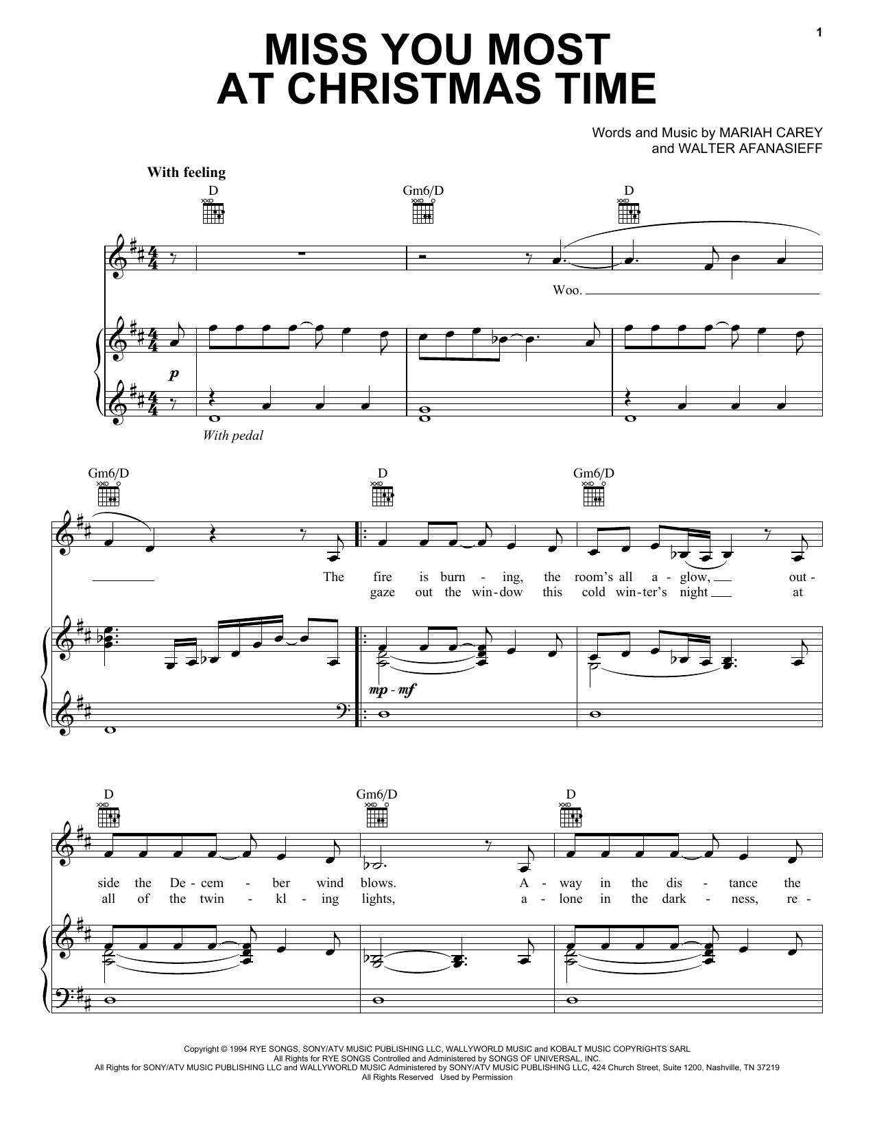 Partition piano Miss You Most At Christmas Time de Mariah Carey - Piano Voix Guitare (Mélodie Main Droite)