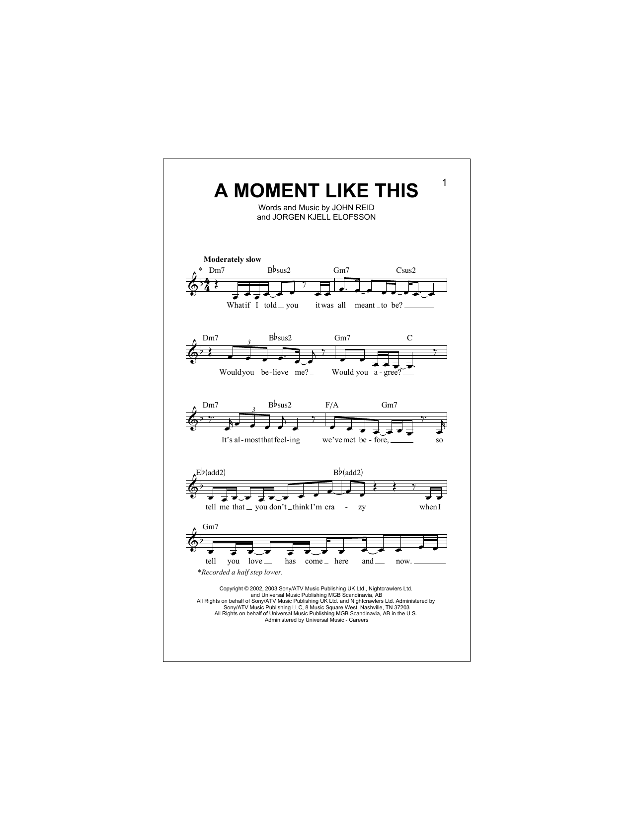Sheet music digital files to print licensed kelly clarkson a moment like this hexwebz Image collections