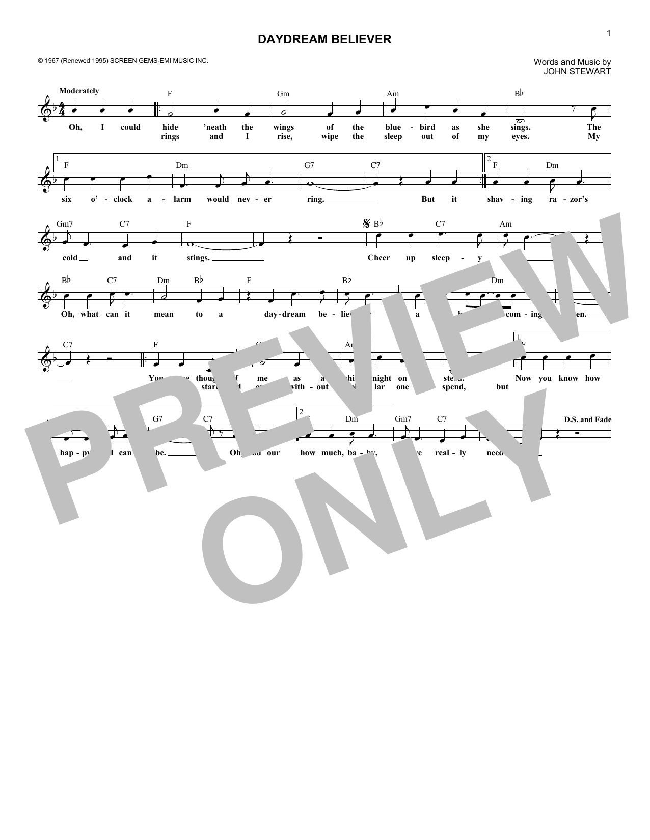 Sheet Music Digital Files To Print Licensed John Stewart Digital