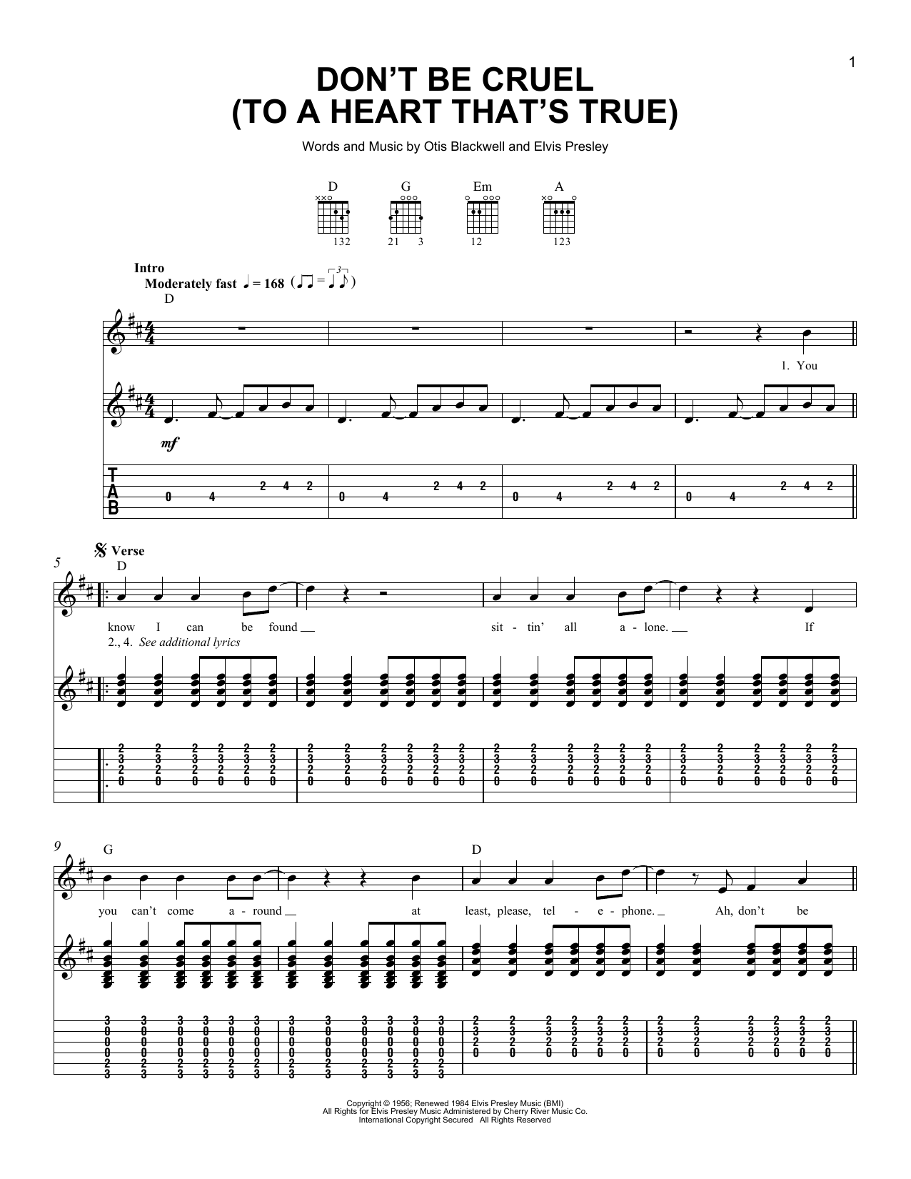 Tablature guitare Don't Be Cruel (To A Heart That's True) de Elvis Presley - Tablature guitare facile