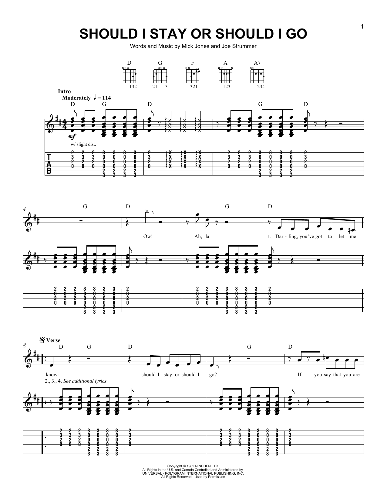 Tablature guitare Should I Stay Or Should I Go de The Clash - Tablature guitare facile