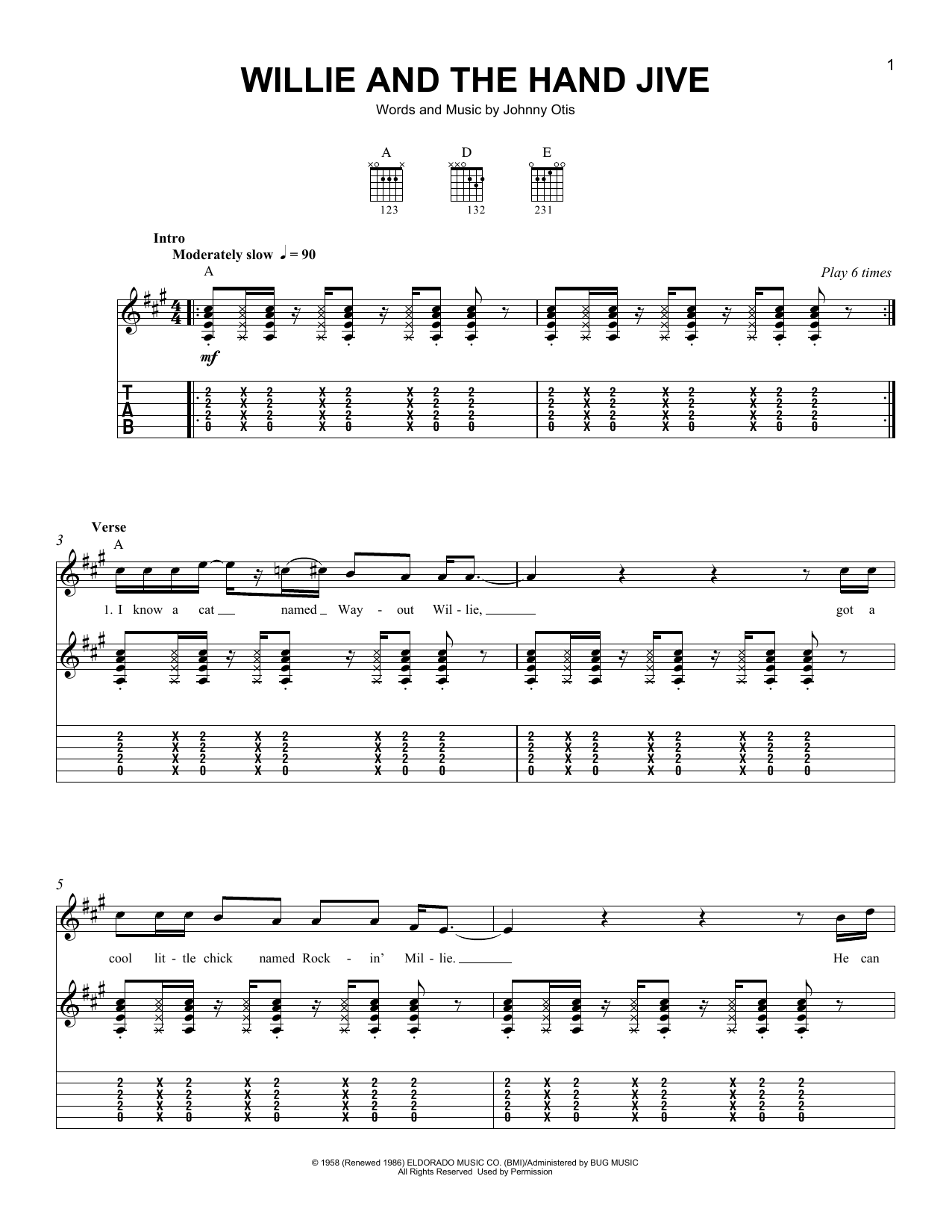 Tablature guitare Willie And The Hand Jive de Eric Clapton - Tablature guitare facile