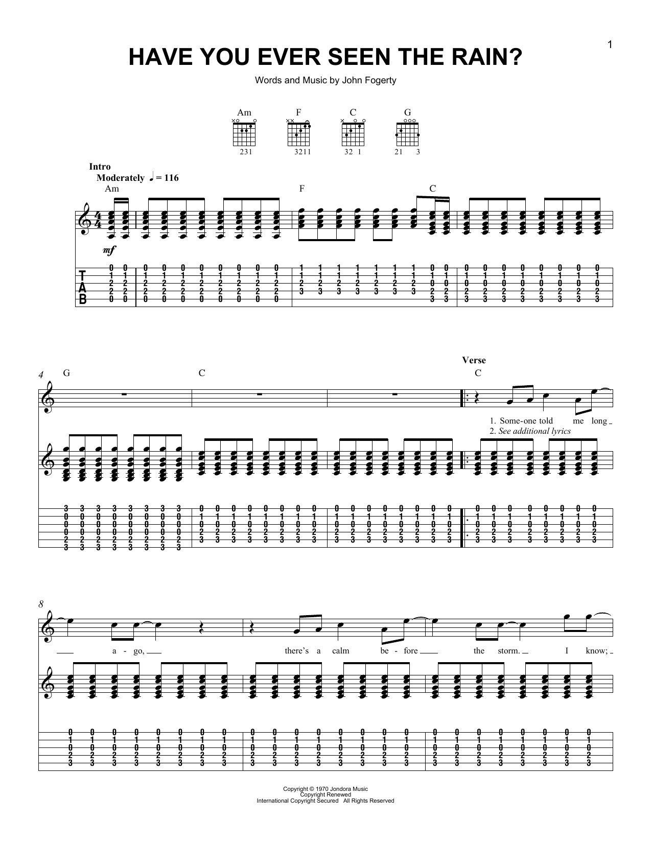 Tablature guitare Have You Ever Seen The Rain? de Creedence Clearwater Revival - Tablature guitare facile
