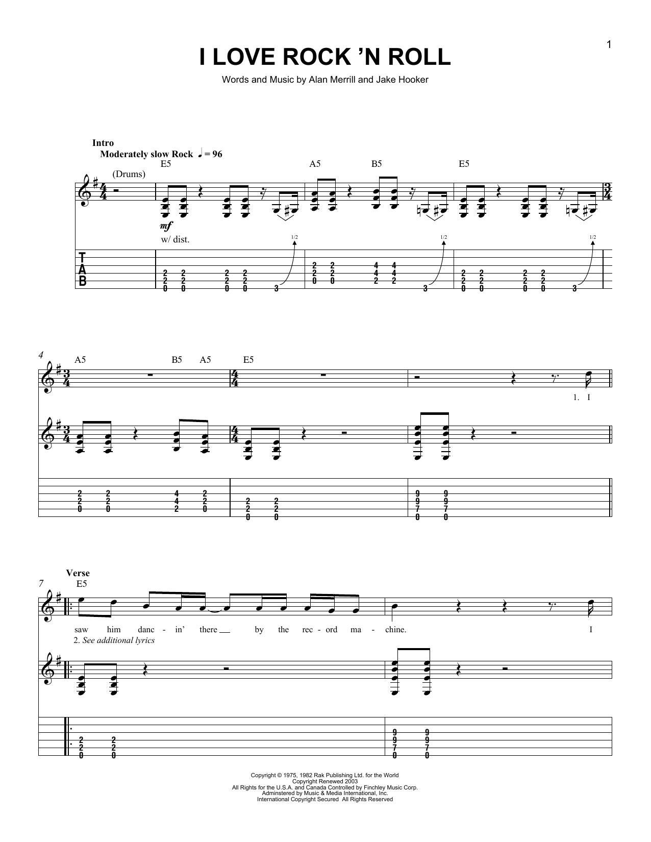 Tablature guitare I Love Rock 'N Roll de Joan Jett & The Blackhearts - Tablature guitare facile
