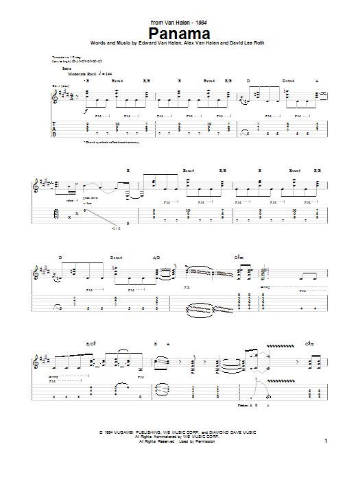 Tablature guitare Panama de Van Halen - Tablature Guitare