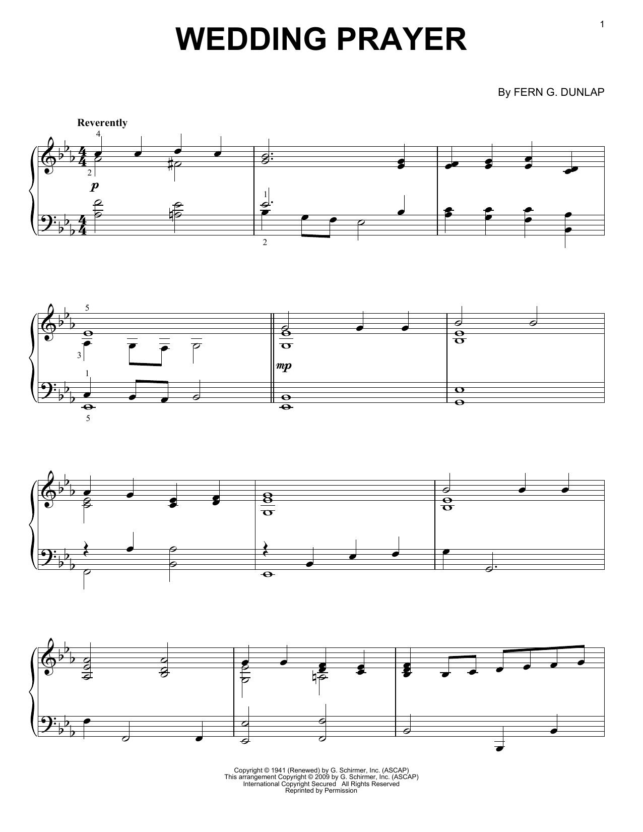 Partition piano Wedding Prayer de Fern G. Dunlap - Piano Solo