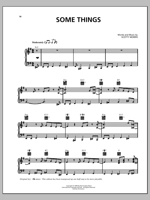 Partition piano Some Things de Big Bad Voodoo Daddy - Piano Voix Guitare (Mélodie Main Droite)