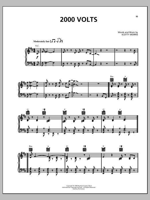 Partition piano 2000 Volts de Big Bad Voodoo Daddy - Piano Voix Guitare (Mélodie Main Droite)