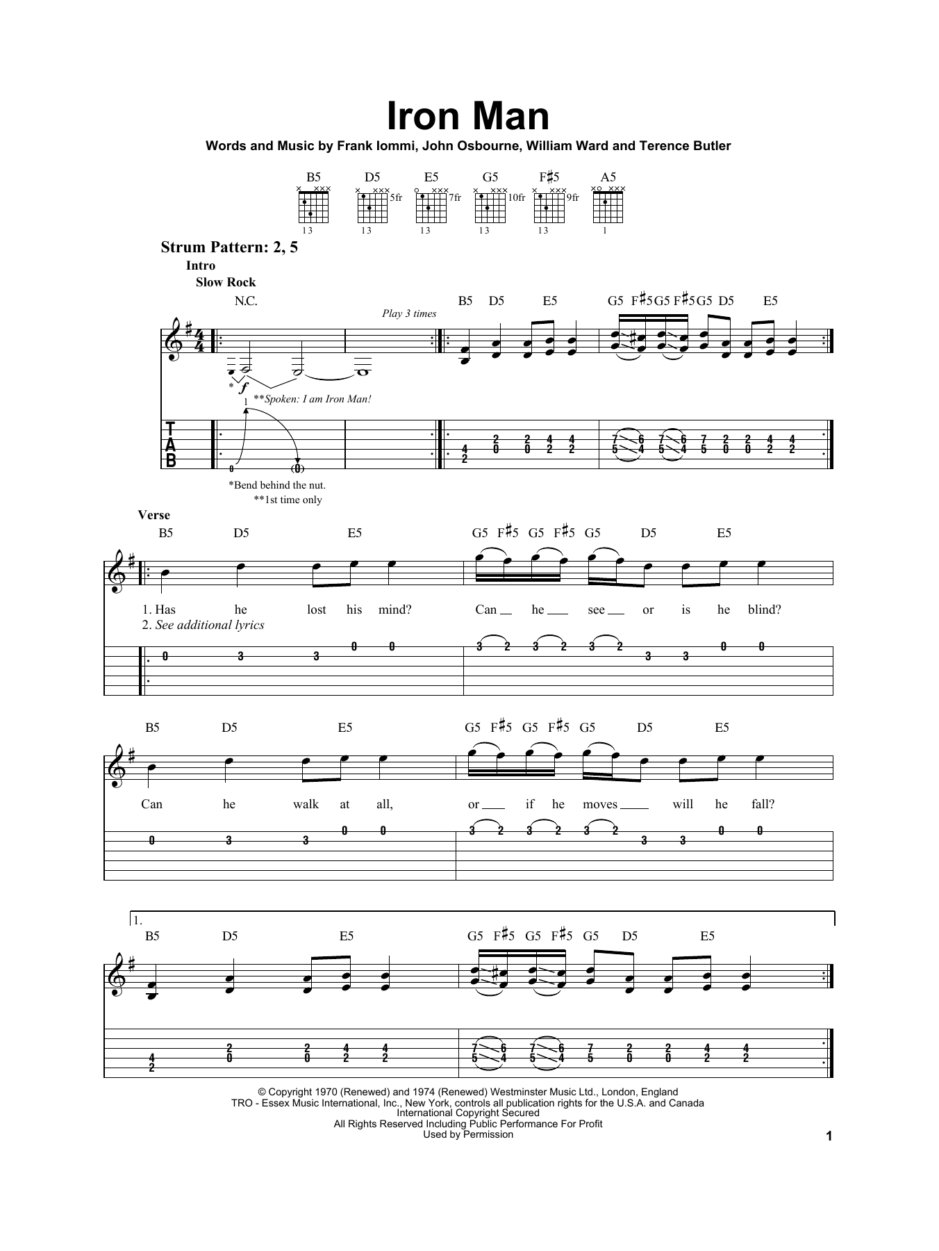 Tablature guitare Iron Man de Black Sabbath - Tablature guitare facile