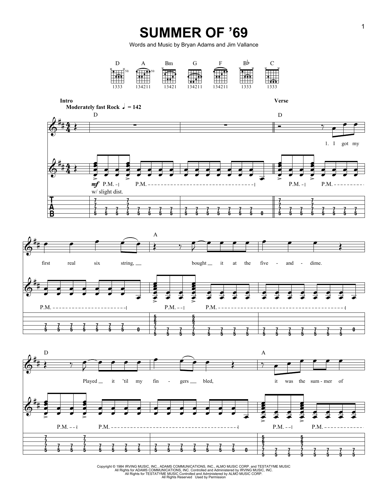 Tablature guitare Summer Of '69 de Bryan Adams - Tablature guitare facile