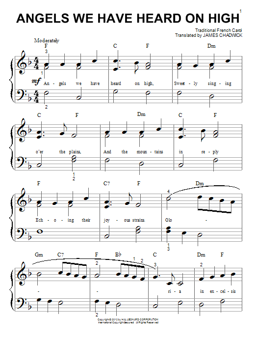 Partition piano Angels We Have Heard On High de Traditional French Carol - Piano Facile