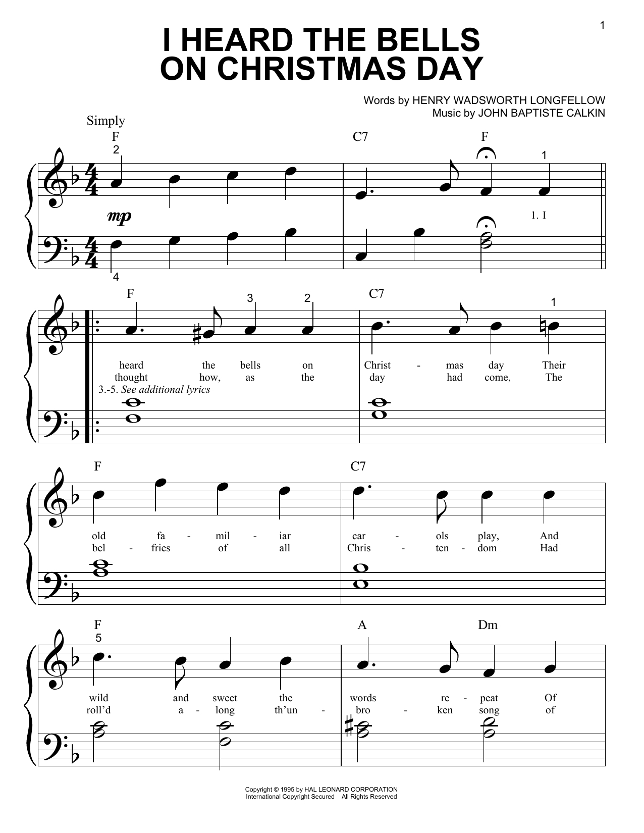 Partition piano I Heard The Bells On Christmas Day de Henry Wadsworth Longfellow - Piano Facile