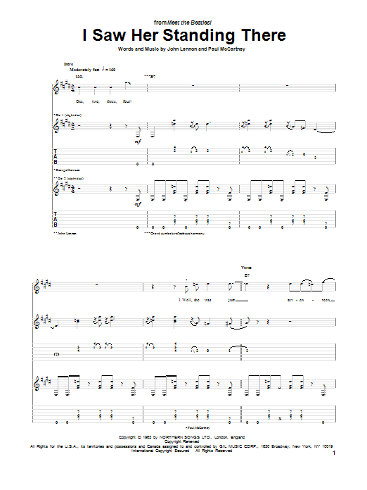 Tablature guitare I Saw Her Standing There de The Beatles - Tablature Guitare