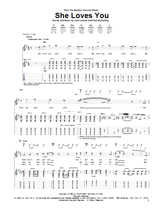 Tablature guitare She Loves You de The Beatles - Tablature Guitare