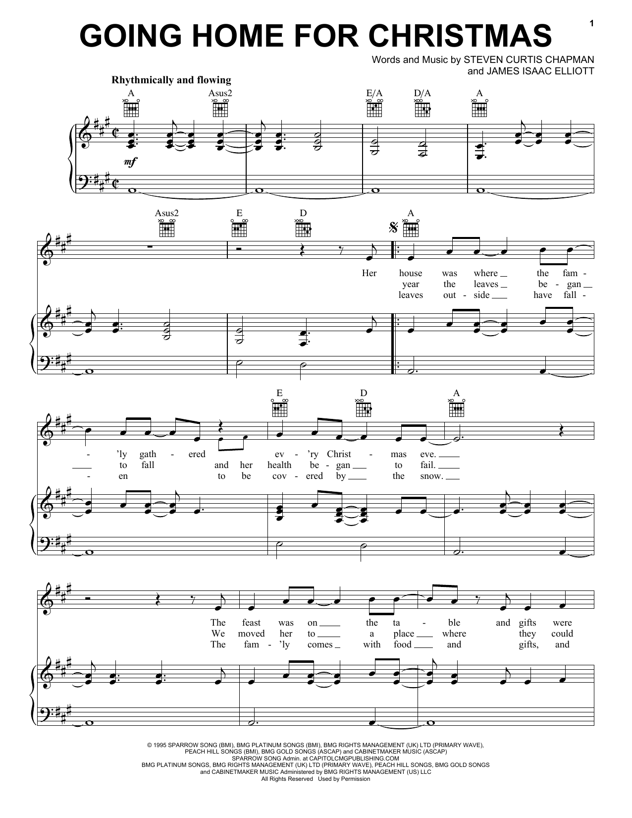 Partition piano Going Home For Christmas de Steven Curtis Chapman - Piano Voix Guitare (Mélodie Main Droite)