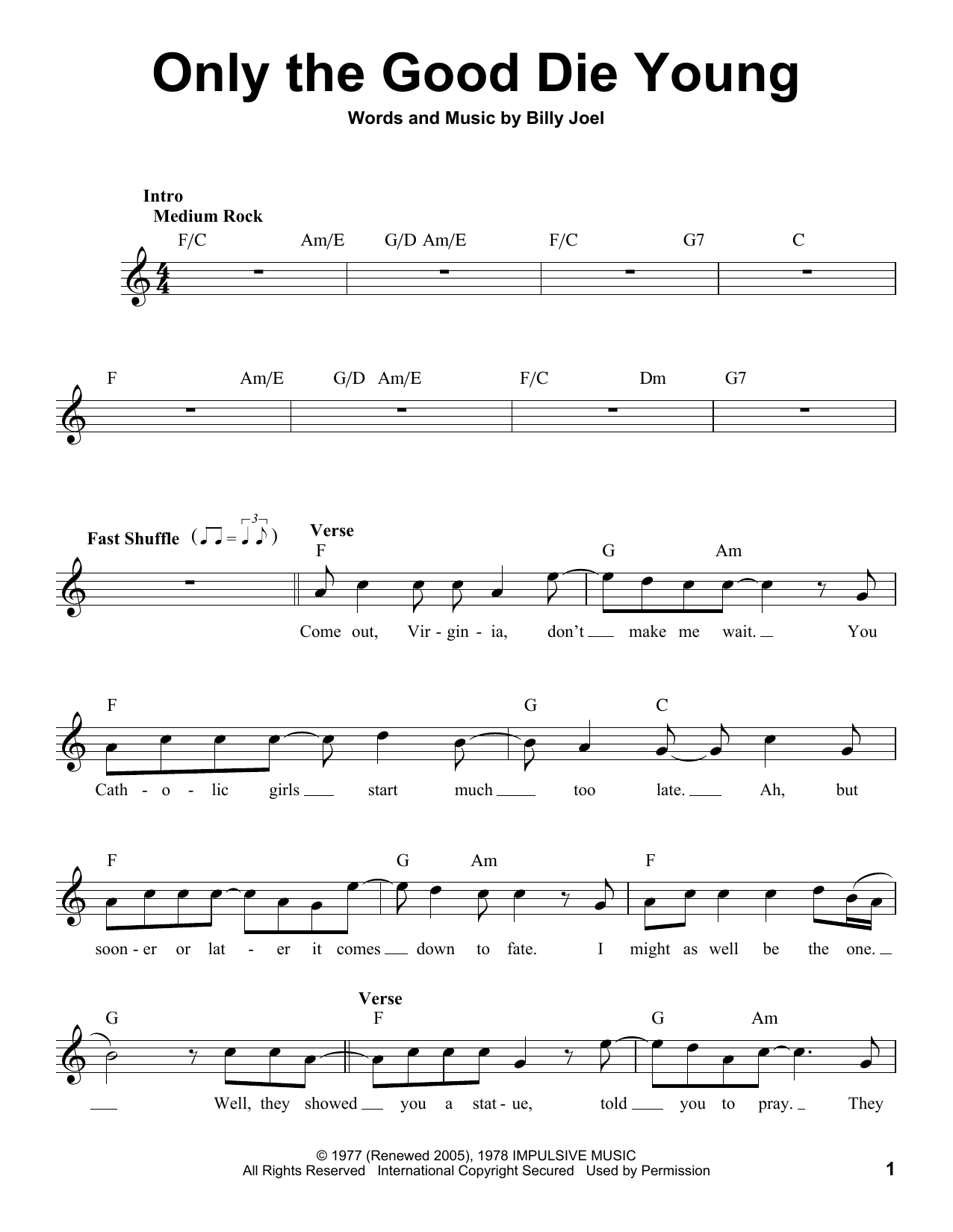 Sheet music digital files to print licensed billy joel digital only the good die young hexwebz Image collections