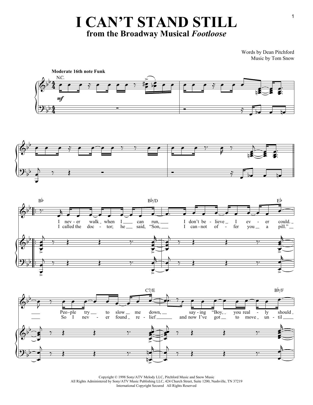 Partition piano I Can't Stand Still de Dean Pitchford - Piano Voix