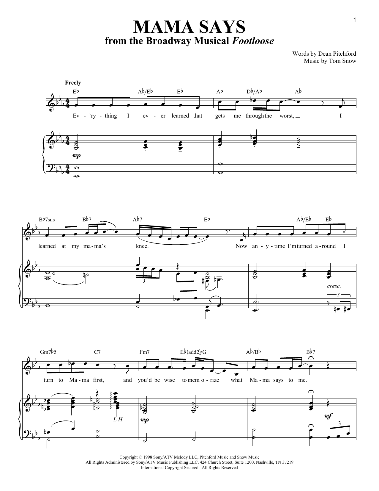 Partition piano Mama Says de Dean Pitchford - Piano Voix