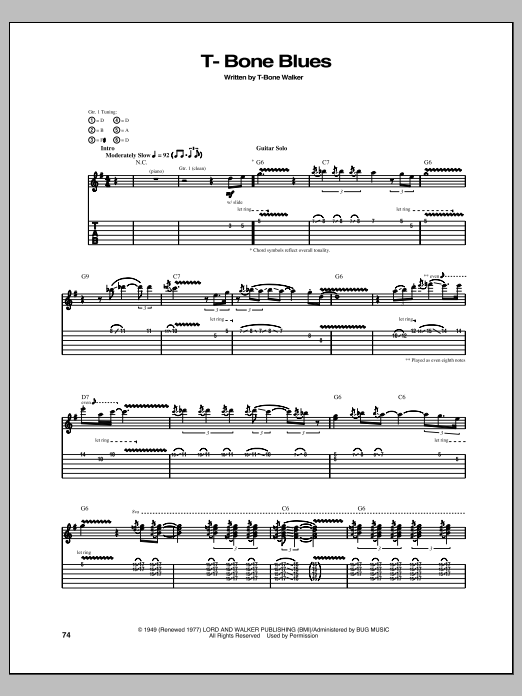 Tablature guitare T-Bone Blues de T-Bone Walker - Tablature Guitare