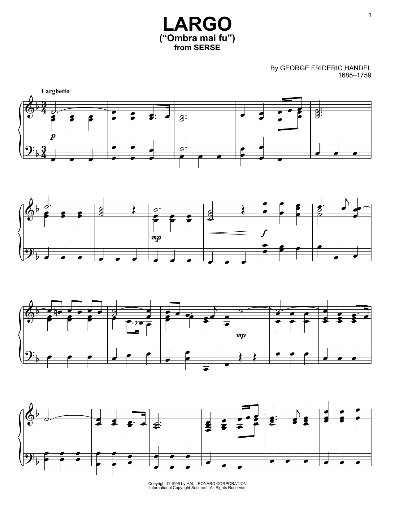 Partition piano Largo de George Frideric Handel - Piano Solo