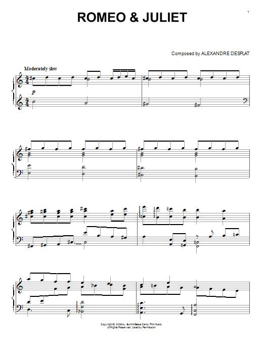 Partition piano Romeo & Juliet de Alexandre Desplat - Piano Solo