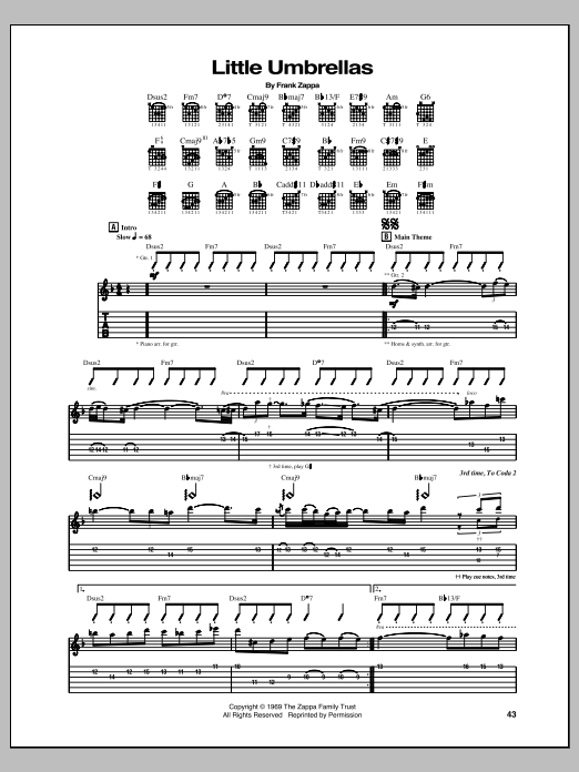 Tablature guitare Little Umbrellas de Frank Zappa - Tablature Guitare