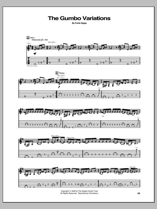 Tablature guitare The Gumbo Variations de Frank Zappa - Tablature Guitare
