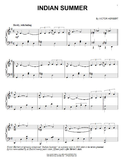 Partition piano Indian Summer de Victor Herbert - Piano Solo