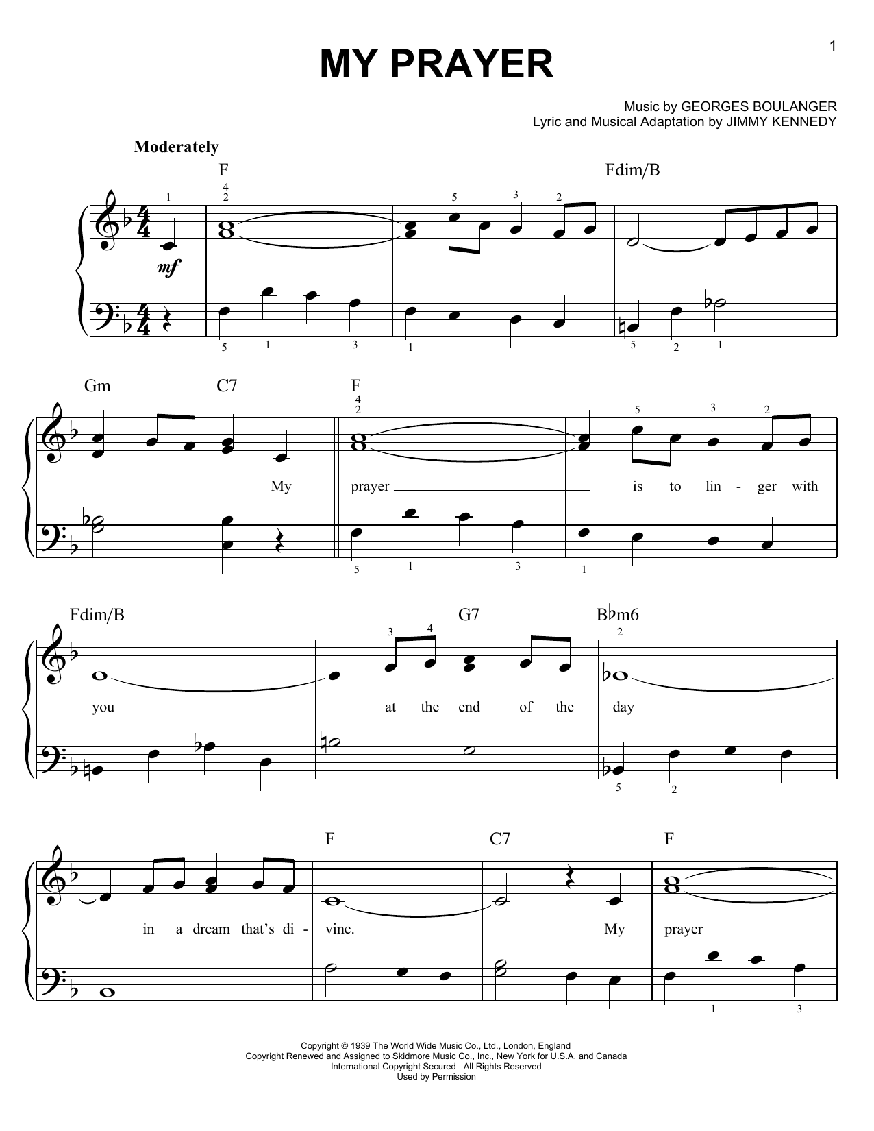 My Prayer sheet music for piano solo (chords) by Jimmy Kennedy