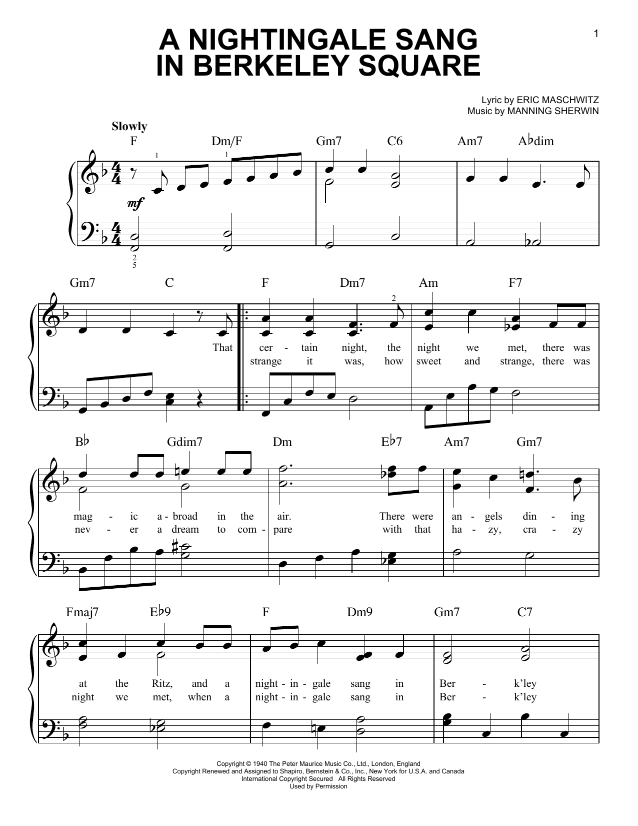A Nightingale Sang In Berkeley Square sheet music for piano solo (chords) by Manning Sherwin