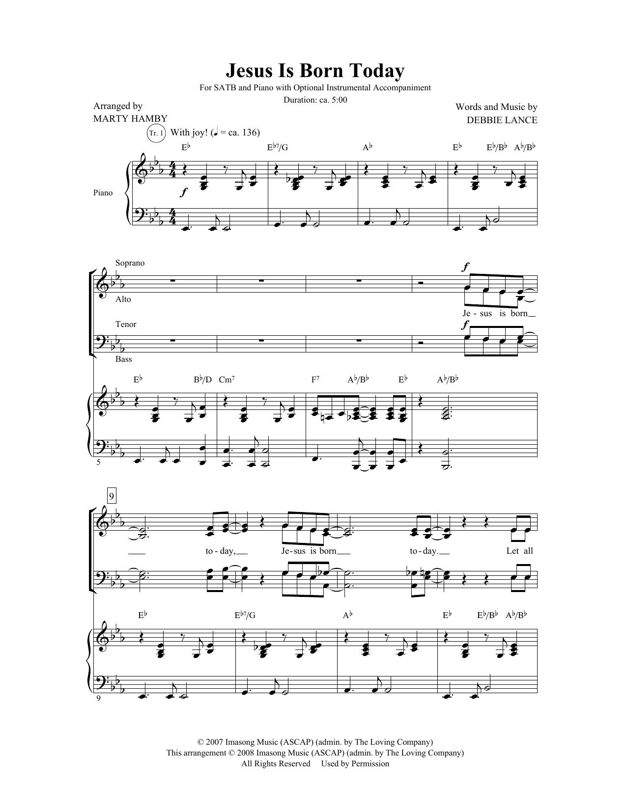 Partition chorale Jesus Is Born Today de Debbie Lance - SATB