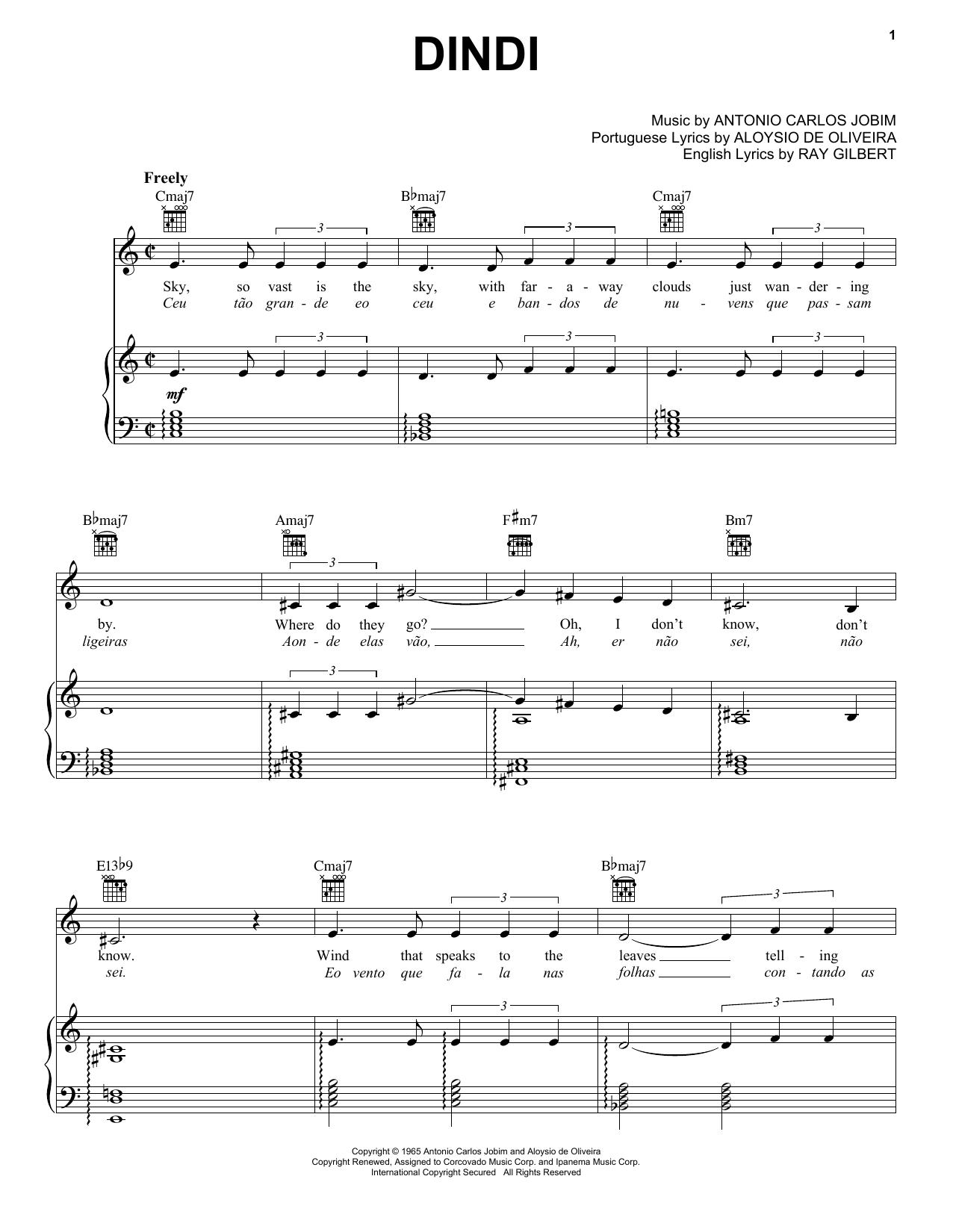 Partition piano Dindi de Antonio Carlos Jobim - Piano Voix Guitare (Mélodie Main Droite)