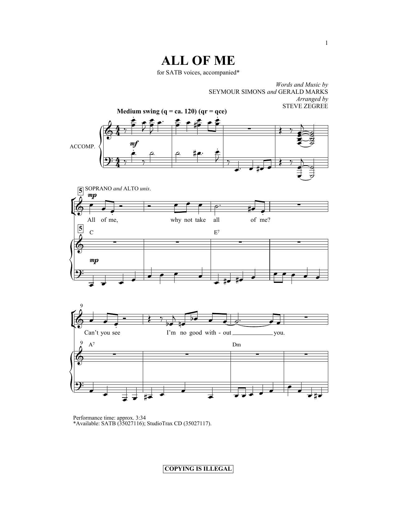 Partition chorale All Of Me (arr. Steve Zegree) de Gerald Marks - SATB