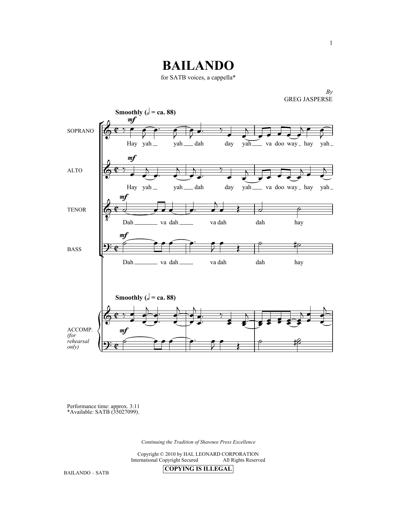 Partition chorale Bailando de Greg Jasperse - SATB