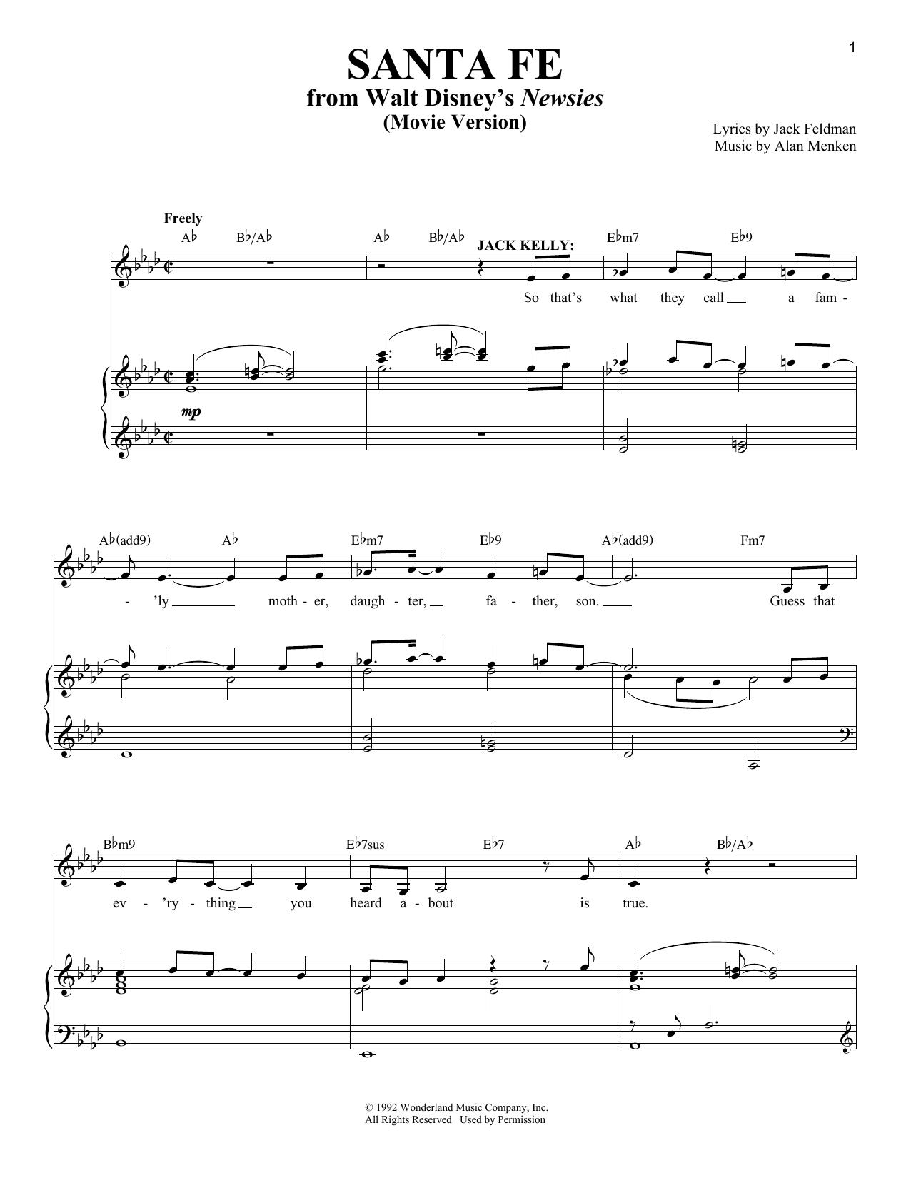 Partition piano Santa Fe de Alan Menken - Piano Voix