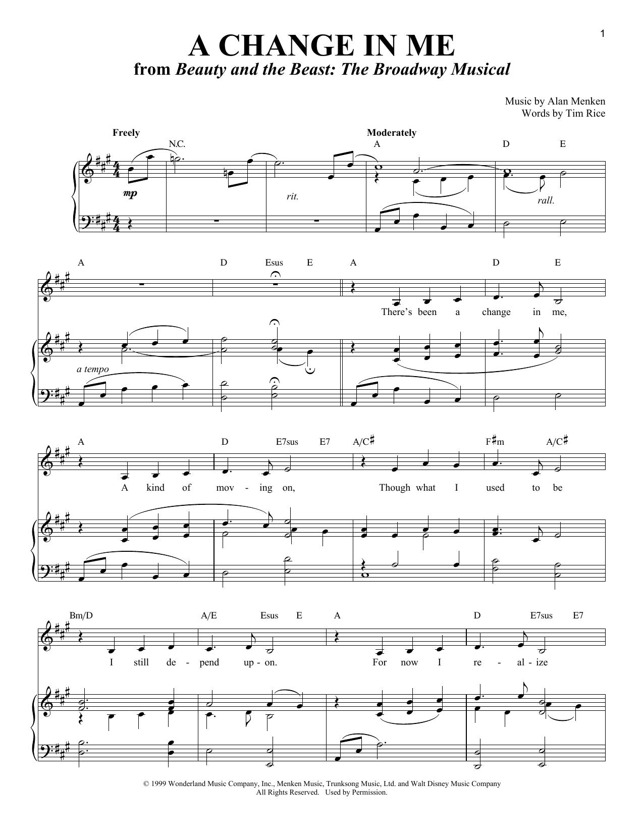 Partition piano A Change In Me de Alan Menken - Piano Voix