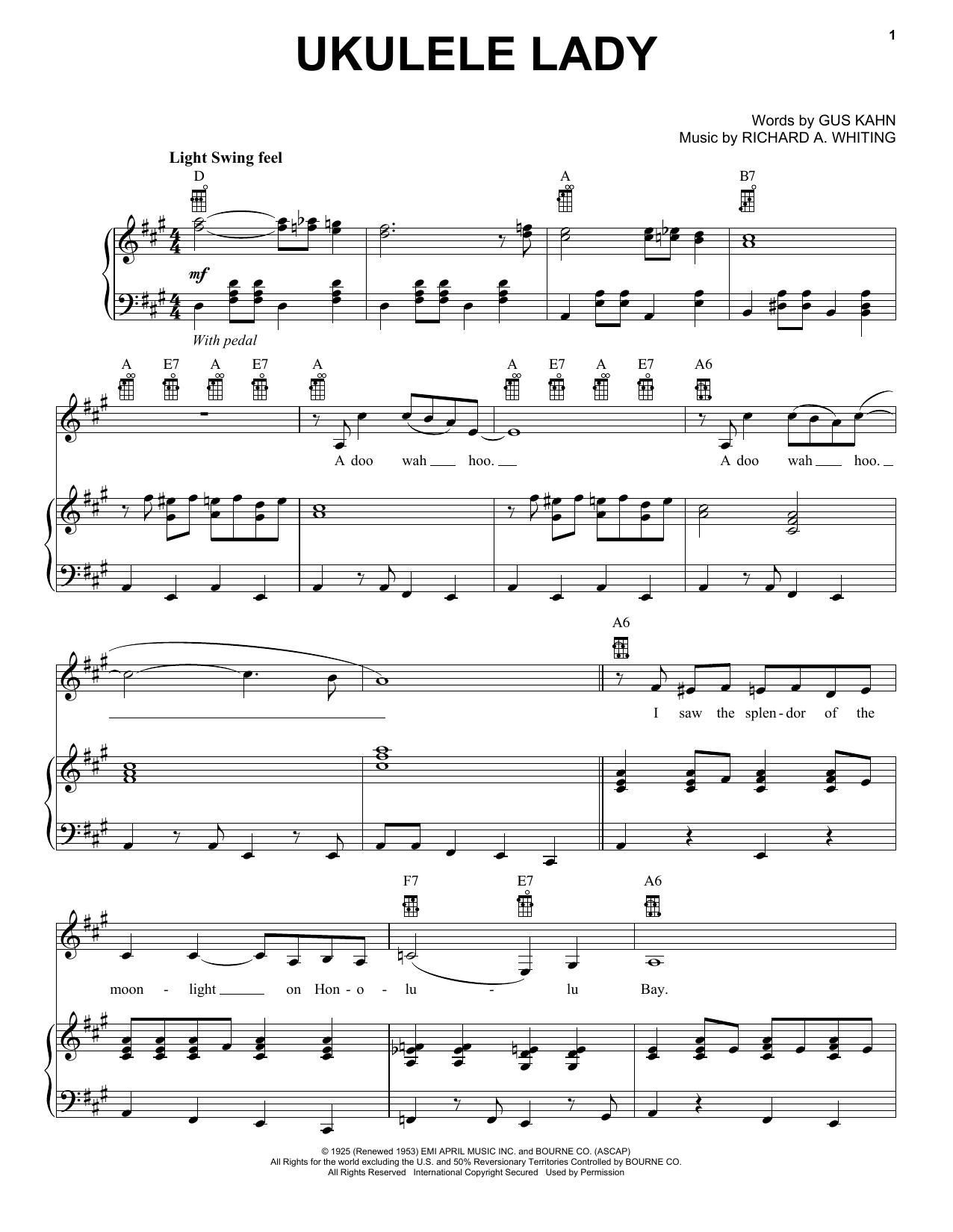 Partition piano Ukulele Lady de Bette Midler - Piano Voix