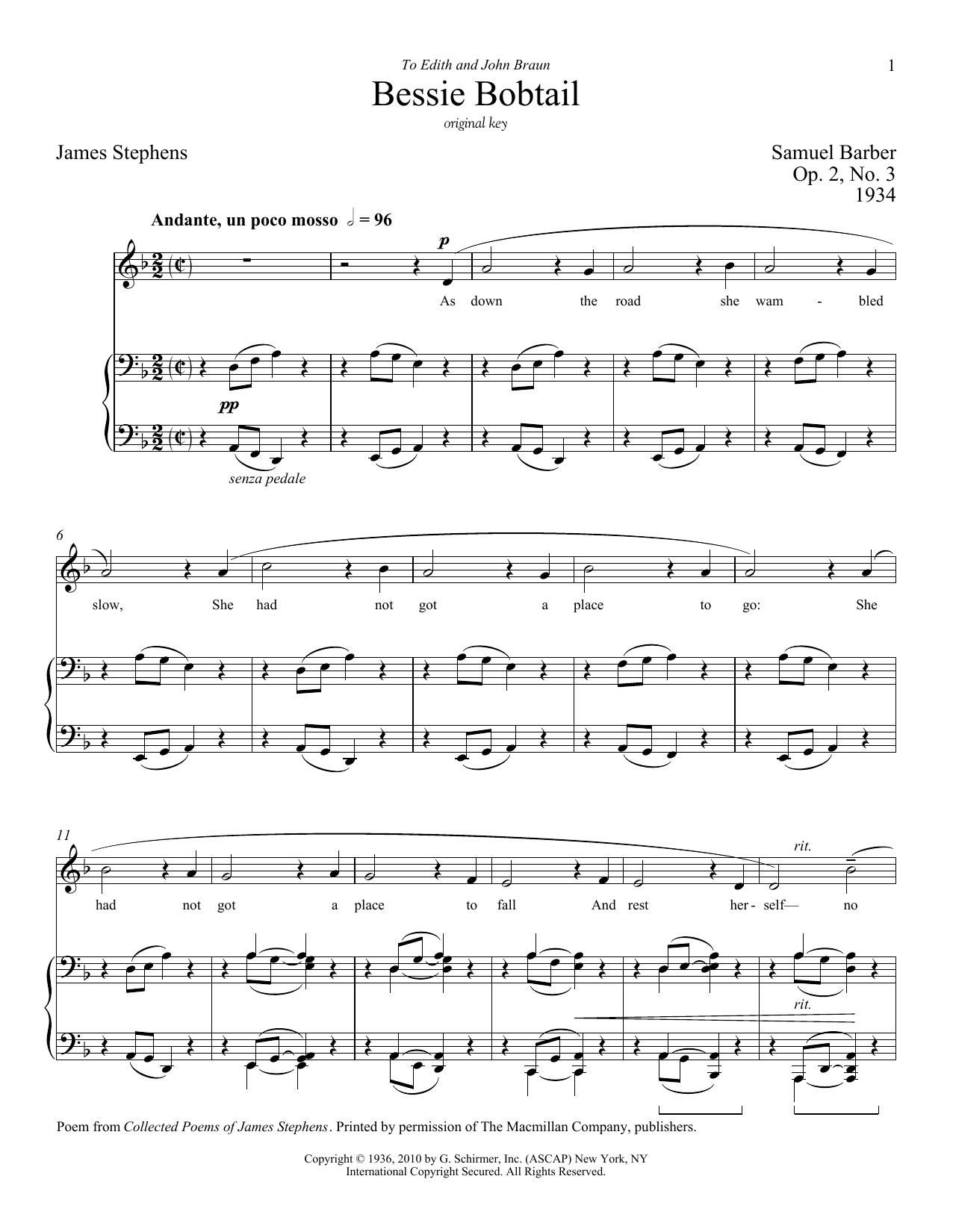Partition piano Bessie Bobtail de Samuel Barber - Piano Voix