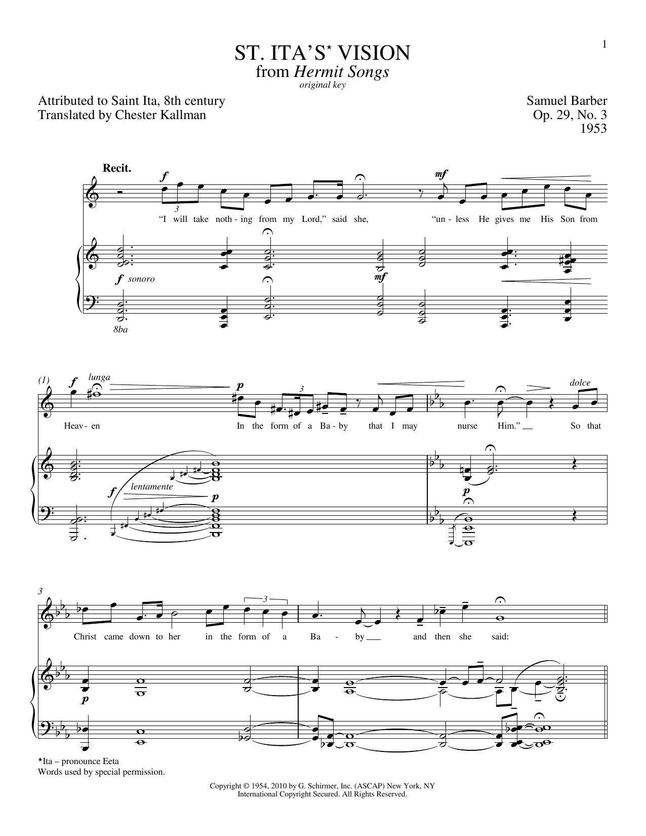 Partition piano St. Ita's Vision de Samuel Barber - Piano Voix