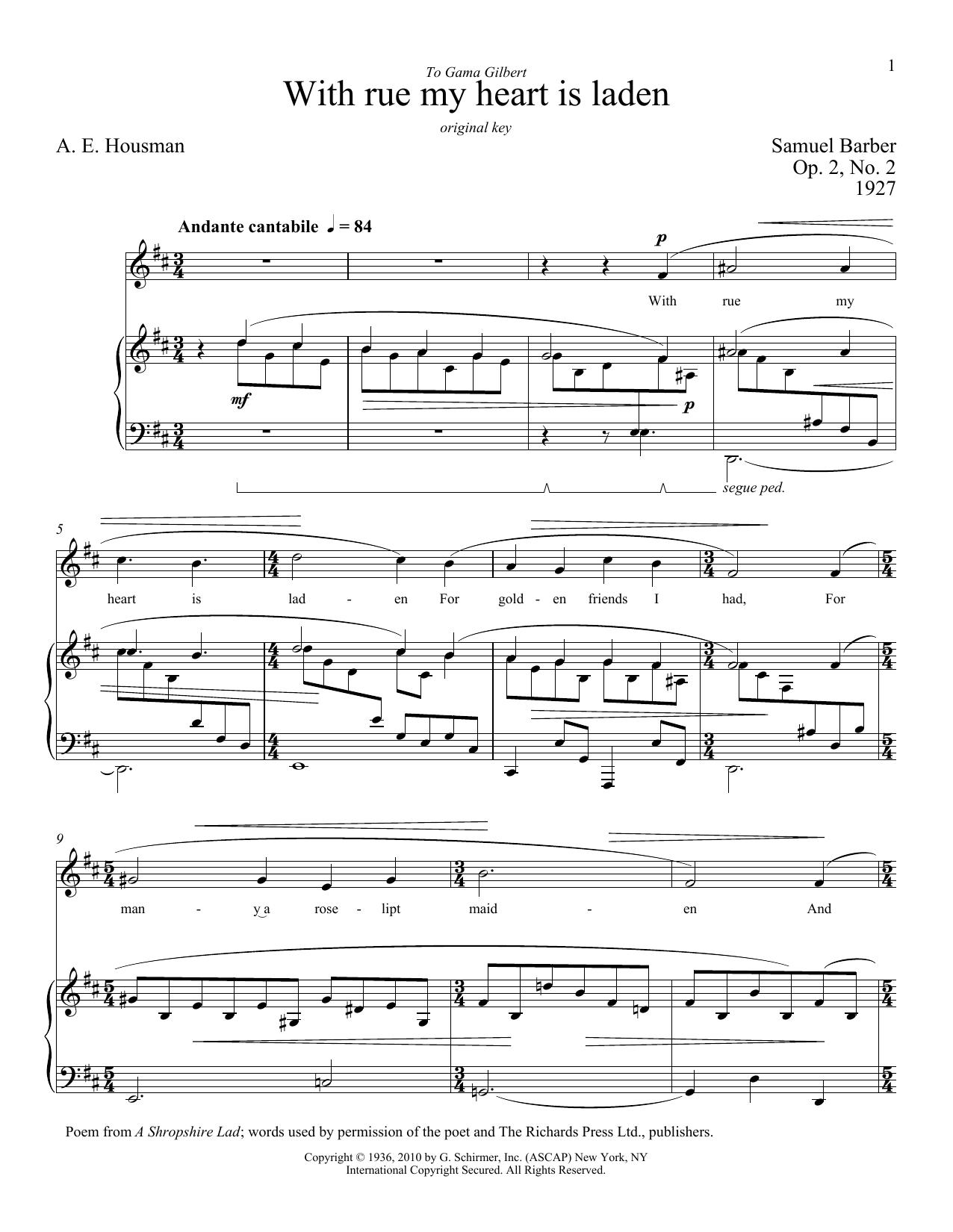 Partition piano With Rue My Heart Is Laden de Samuel Barber - Piano Voix